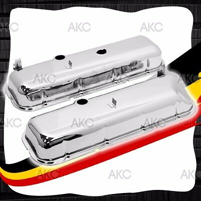 Chrome Tall Recessed Corner Valve Covers For 65-72 Chevy Big Block 396 427 454