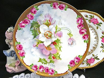 BAVARIA GERMANY Painted plate blossoms and Pink roses with gold band plate