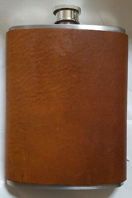 Brown Leather Flask with Stainless Steel 8 oz Vintage