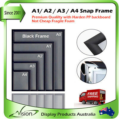 A1 A2 A3 A4 Black PREMIUM Aluminum Snap Poster Click Picture Frame Sign Holder