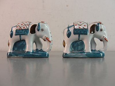Indian Elephant Figurines Porcelain Hand Painted Home Decor Indonesian Set Pair