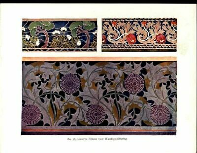 Floral Patterns Lovely Graceful Design 1901 antique color Art Nouveau print