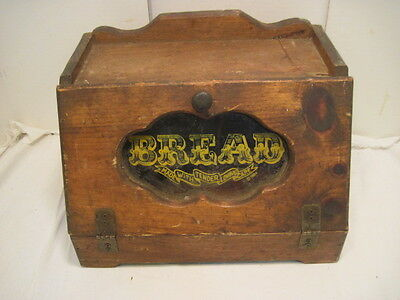 Vintage Wood Woden Breadbox Bread Box With Glass Sign Country Kitchen