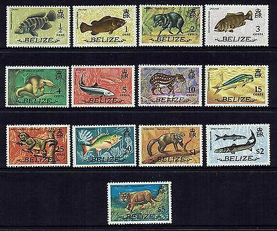 Belize 1974    Fish And Animals...set Of 13....mint Unhinged
