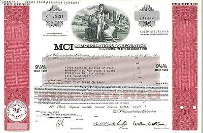 MCI Communications Corporation > 1987 old stock certificate share