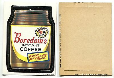 1967 Topps Wacky Packages Die Cut #1 Boredoms NO Creases!