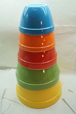 Crate And Barrel Mixing Bowls Complete Set Of 5 Nesting Addison Primary Colors