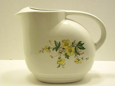 Knowles Utility Ware Water Pitcher Yellow Buttercup Flowers Made in USA