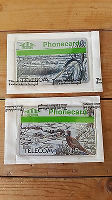 2 x Sealed Unused 1980's British Telecom BT Telephone Phone Cards - Winter Birds