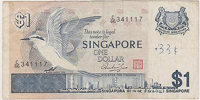 (N3-220) 1987 Singapore $1 bank note (space filler) (F)