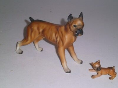 VTG BOXER Figurine DOG Large hard plastic/miniature ceramic