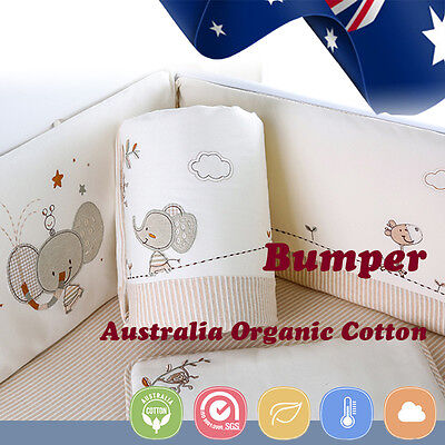 Baby Cot Crib Bedding Bumpers Newborn Gift 100% Pure Organic Cotton Soft Cream