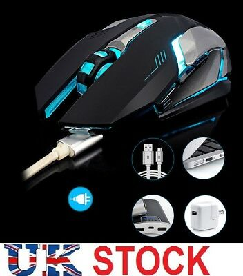 2.4GHz Wireless Rechargeable Silent USB Optical Ergonomic LED Gaming Mouse Black