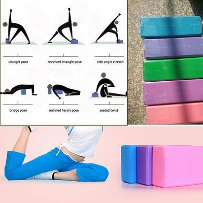 2X Yoga Block Foam Brick Stretching Aid Gym Pilates For Exercise Fitness Bg