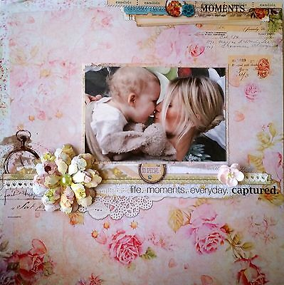 12 x 12 Handmade Scrapbook Page - Life. Moments. Everyday. Captured