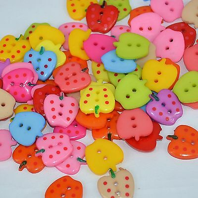 lot 20 boutons fraise multicolor 2t melange couture mercerie scrap 23x20mm