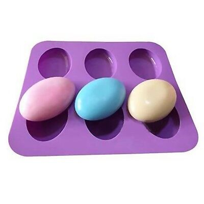 6 Slots DIY 3D Oval Shape Silicone Soap Mould Jelly Maker Cake Mold Tool