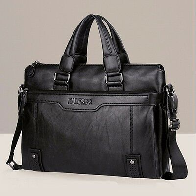 US Vintage Men Leather Business Briefcase Shoulder Messenger Handbag Laptop Bag