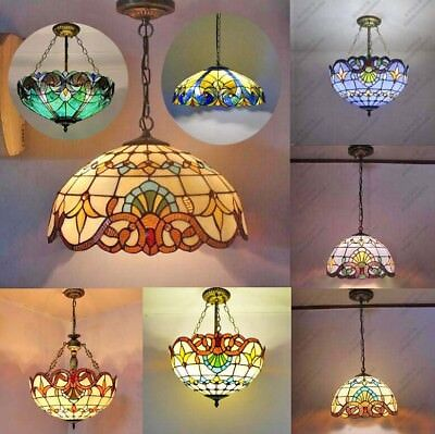 Vintage Baroque Tiffany Pendant Light Stained Glass Down Up Bedroom Living Bar