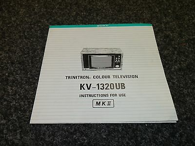 Original 1970's Sony KV-1320UB MK11 Colour Television  Owners Manual