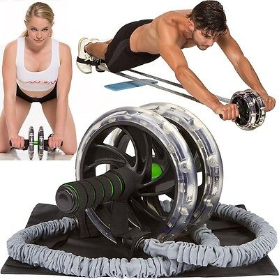 2x Double Wheels Ab Roller Pull Rope Waist Abdominal Slimming Fitness Equipment