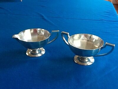 beautiful BENEDICT 1918 silverplate CREAMER & SUGAR, EPNS BMM,fits any style