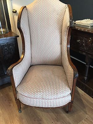 Edwardian Mahogany Wing Back Chair
