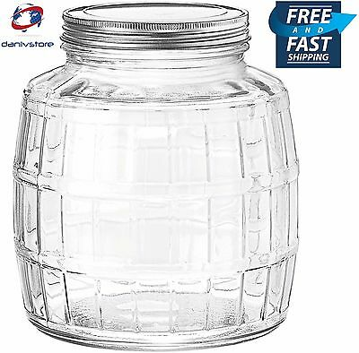 1 Gallon Barrel Clear Glass Jar with Lid Kitchen Storage Canister Food Container