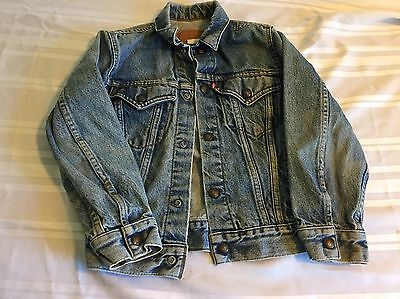 Vintage Levis Kids Childs Youth Denim Jean Jacket Size 12 MADE IN USA!