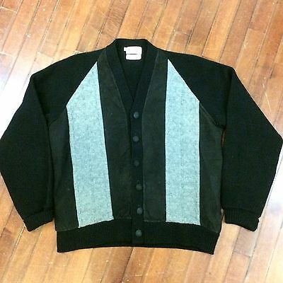 Sarby Sportswear Vintage 50s Mens Large Two-Tone Wool/Suede Cardigan Sweater