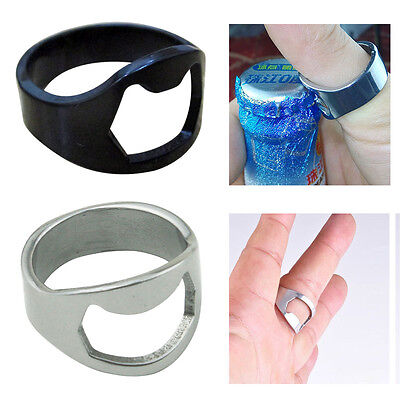 Stainless Steel Ring Ring-Shape Beer Bottle Opener Metal Finger Thumb Keyring