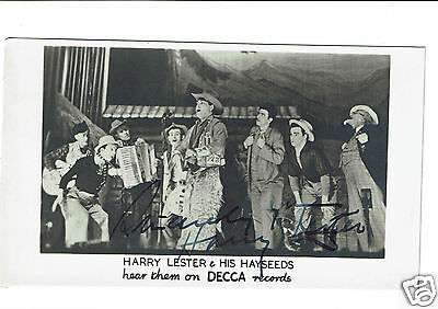 Harry Lester and Mrs Hayseeds Musicians Hand signed Vintage Decca Photograph 5x3