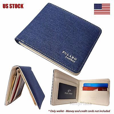 Mens Bifold Leather Wallet ID Card Holder Coin Pocket Thin Pulabo Purse