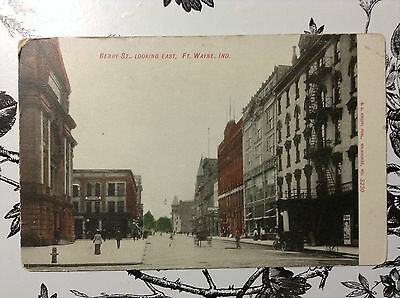 Berry St East Ft Wayne Indiana Antique Postcard Unposted Undivided Hand Colored