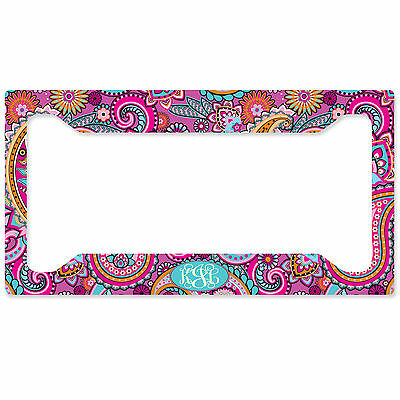 MONOGRAMMED LICENSE PLATE Frame Custom Car Tag Light Pink Paisley ...