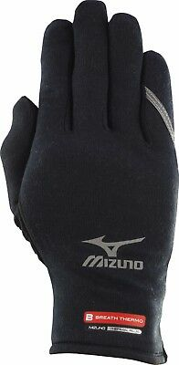 Mizuno 67XBK265-09 Running Breath Thermo Gloves, Black Brand New Black