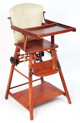 Vintage Mahogany Child's High Chair Folding Play Table - FREE Shipping [PL2026]
