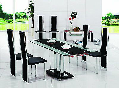 Pavia Extending Glass Chrome Dining Room Table & 6 Chairs Set-Furniture-601-816