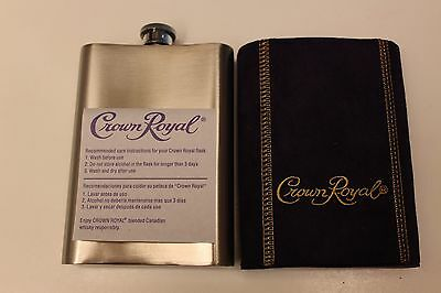 Fabric Covered Stainless Steel Crown Royal 8oz Flask EUC With Original Paperwork