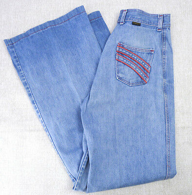 Vintage 60s 70s Wrangler Wide Leg Red Button Nautical High Waist Jeans 30x34 M