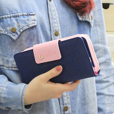 Women Lady Clutch Long Purse Leather Zip Wallet Card Holder Handbag US Location