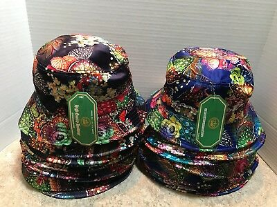 Lot Of 19 Floral Leaves Bucket Hats - 100% Cotton - Black (10) & Navy Blue (9)