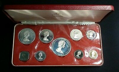 1972 FRANKLIN MINT COMMONWEALTH OF THE BAHAMAS PROOF SILVER 9 COIN SET with COA!