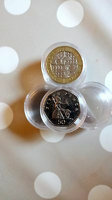 Up to 100 x Coins Holder Capsules Collecting Coins Boxes 30 mm for 50p £2 pound