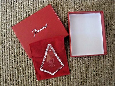 1985 Baccarat Crystal Christmas Ornament Christmas Tree MIB Pouch