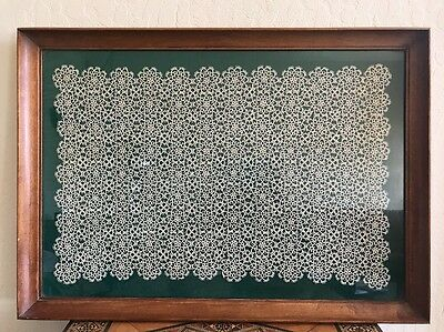 Exquisite Large Handmade Antique Dresser Lace Panel Table Framed Shadow Box