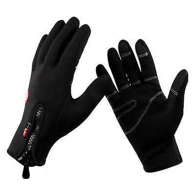 Windproof Bicycle Cycling Leisure Full Finger Leather Fleece Touch Screen Gloves