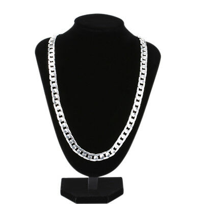 Handsome Men's Jewelry 925 Sterling Silver Simple Curb Chain Necklace Silver