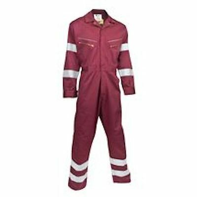 Premium Overalls Reflective Strips Triple Stitched Boilersuit Full Zip Maroon