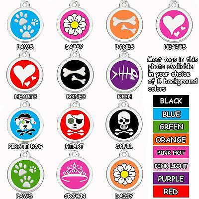 Enamel Round Pet ID Tags Various Designs and Colors  Stainless Steel